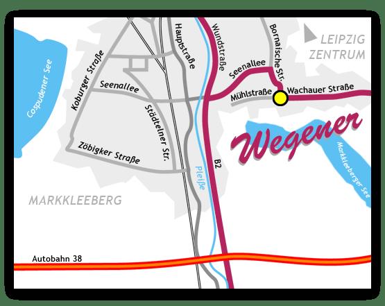 Wegbeschreibung zur Wegener GmbH in Markkleeberg